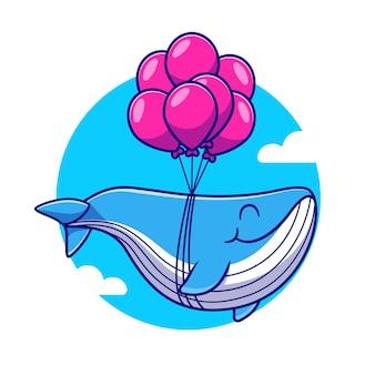 Linda ballena flotando con ilustración de dibujos animados de globo. concepto de naturaleza animal aislado. estilo de dibujos animados plana