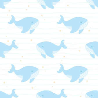 Linda ballena nadando de patrones sin fisuras