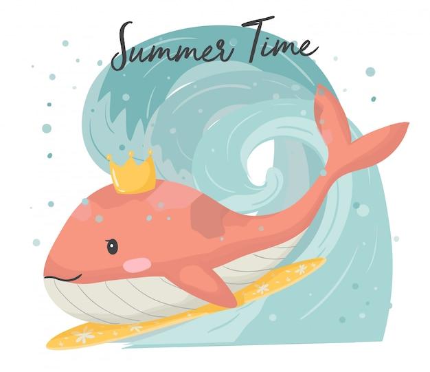 Linda ballena rosa en la tabla de surf, navegando en gran ola mano dibujar vector plano