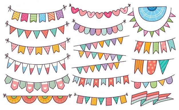 Linda bandera del empavesado en estilo doodle