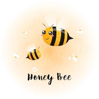 Linda bebe brillante abeja acuarela