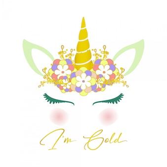 Linda belleza unicornio ilustración oro brillo