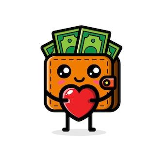 Linda billetera abrazando amor corazón