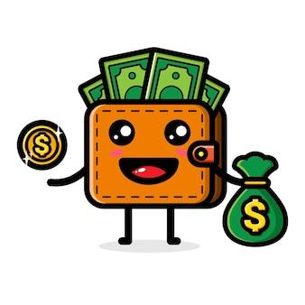 Linda billetera con una bolsa llena de dinero