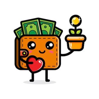 Linda billetera sosteniendo una planta de dinero