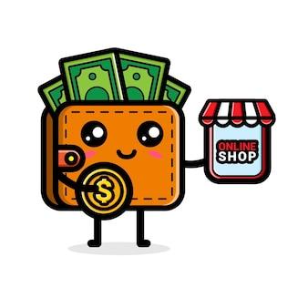 Linda billetera con un teléfono móvil que dice tienda en línea