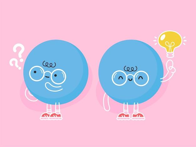 Linda bola azul divertida con signo de interrogación y bombilla de idea