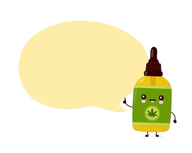 Linda botella de aceite de cbd de cannabis divertida y feliz. diseño de icono de ilustración de personaje de dibujos animados.