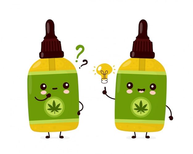 Linda botella de aceite de cbd de cannabis divertida y feliz con signo de interrogación y bombilla de idea. diseño de icono de ilustración de personaje de dibujos animados.