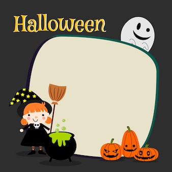 Linda bruja y calabaza de halloween.