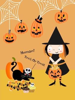 Linda bruja y gato negro en halloween.