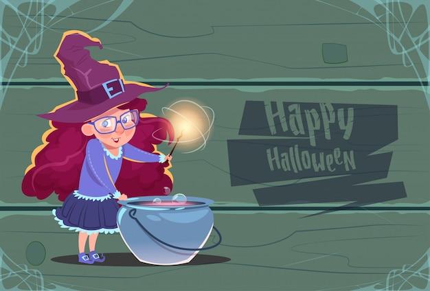 Linda bruja haciendo poción en maceta, concepto de celebración de fiesta de feliz halloween