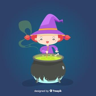 Linda bruja de halloween con crisol