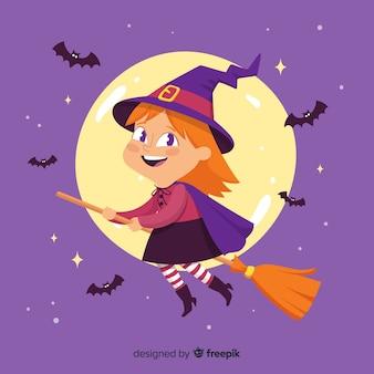 Linda bruja de halloween en escoba con murciélagos