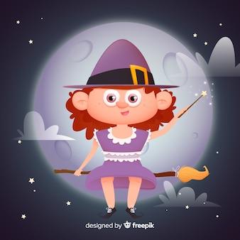 Linda bruja de halloween en una escoba