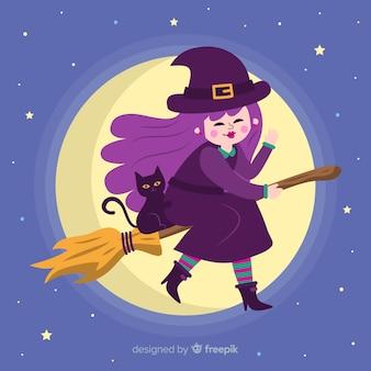 Linda bruja de halloween en escoba