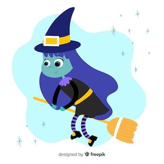 Linda bruja de halloween con una escoba