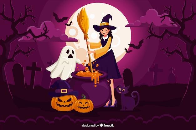 Linda bruja de halloween con escoba