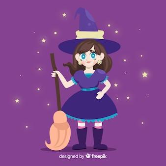 Linda bruja de halloween con fondo de noche estrellada