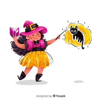 Linda bruja de halloween haciendo un hechizo