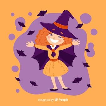 Linda bruja de halloween con murciélagos