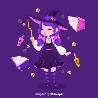 Linda bruja de halloween con objetos voladores