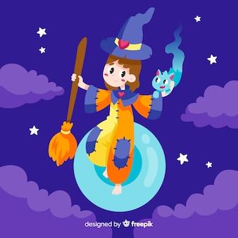 Linda bruja de halloween