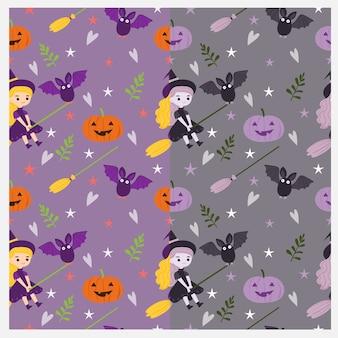 Linda bruja y patrón de elementos de halloween