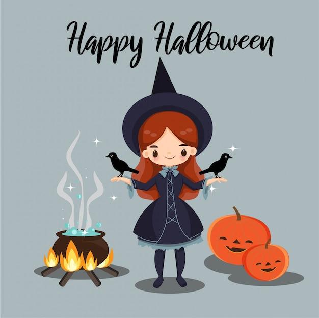 Linda bruja y sus cuervos para la tarjeta de halloween