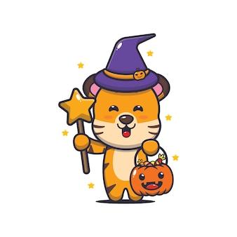 Linda bruja tigre con varita mágica llevando calabaza de halloween linda ilustración de dibujos animados de halloween