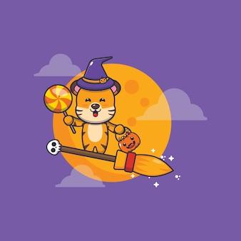 Linda bruja tigre volar con escoba en la noche de halloween linda ilustración de dibujos animados de halloween