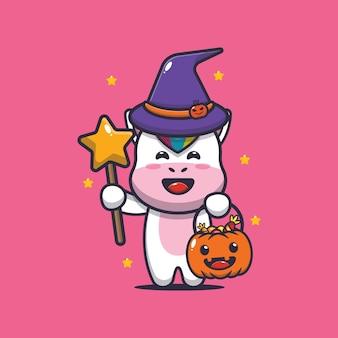 Linda bruja unicornio con varita mágica llevando calabaza de halloween linda ilustración de dibujos animados de halloween