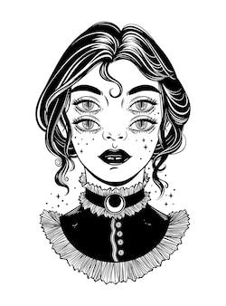 Linda bruja victoriana con cuatro ojos. ilustración gráfica. arte oscuro