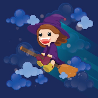 Linda bruja volando en escoba mágica con cielo nublado