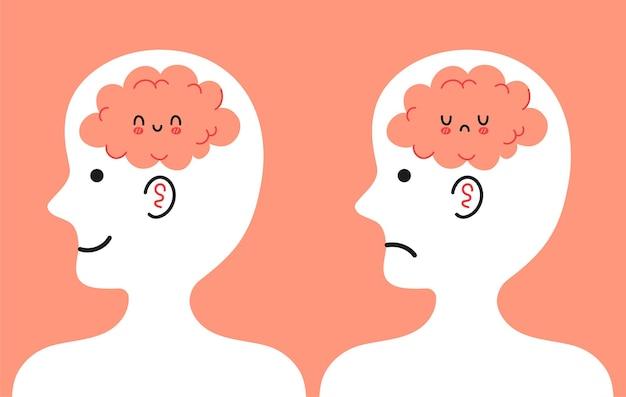 Linda cabeza humana de perfil con cerebro feliz y triste dentro