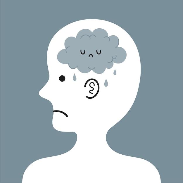 Linda cabeza humana triste de perfil con nube de lluvia dentro