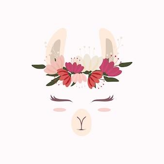Linda cabeza de llama con hermosa corona de flores