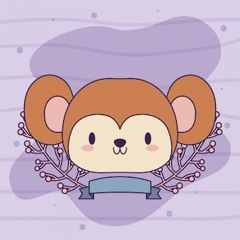 Linda cabeza de mono bebé kawaii con decoración