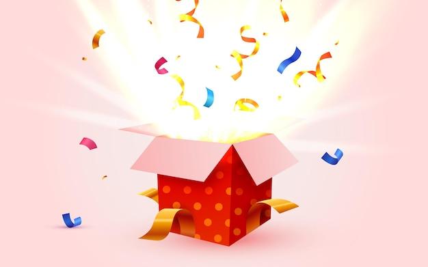 Linda caja de regalo sorpresa con confeti cayendo
