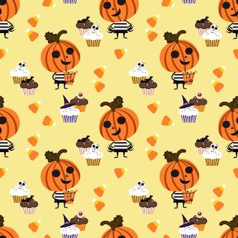 Linda calabaza de halloween y patrones sin fisuras de caramelo