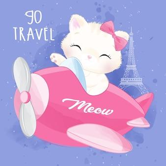 Linda camada gatito volando con ilustración de avión