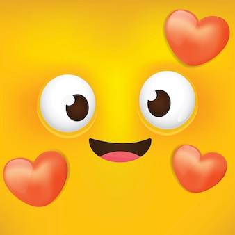Linda cara de amor emoji, smiley. emoticones de dibujos animados con amor.
