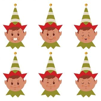 Linda cara de duende de navidad, conjunto plano de dibujos animados de cabeza de ayudante de santa con diferentes emociones divertidas.