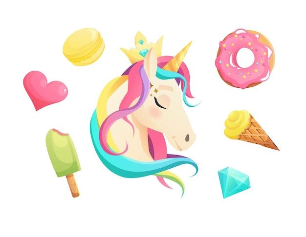 Linda cara de unicornio en estilo plano