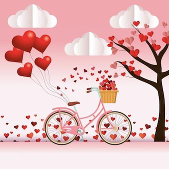 Linda caricatura de bicicleta