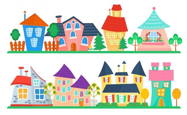Linda caricatura de casas colección