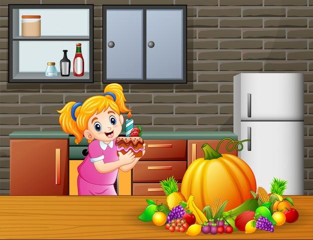 Linda caricatura de una chica sosteniendo un pastel en la cocina