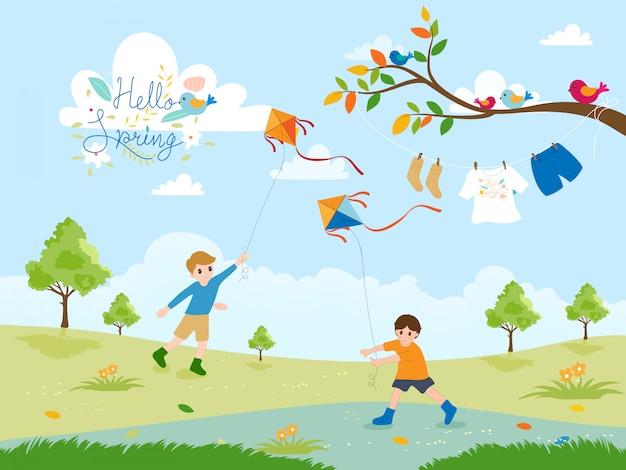 Linda caricatura de dos niños volando cometas en el parque en primavera