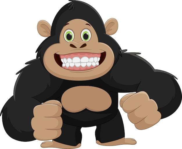 Linda caricatura de gorila