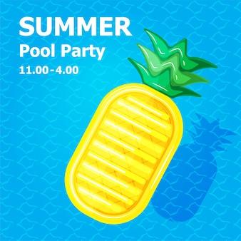 Linda caricatura plana de inflable o flotador en tarjeta de invitación concepto de fiesta en la piscina de verano